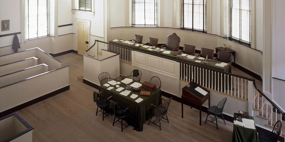 The court, as it existed in the last decade of the 18th century, has been recreated by the Independence National Historical Park.