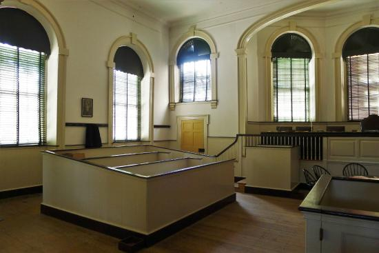 Another view of the courtroom and its jury box.  Unlike today, some cases heard by the Supreme Court involved a jury.