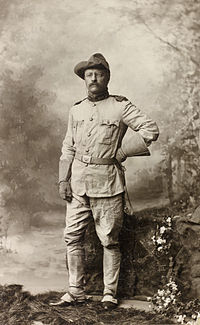 Roosevelt in his Rough Rider clothing.