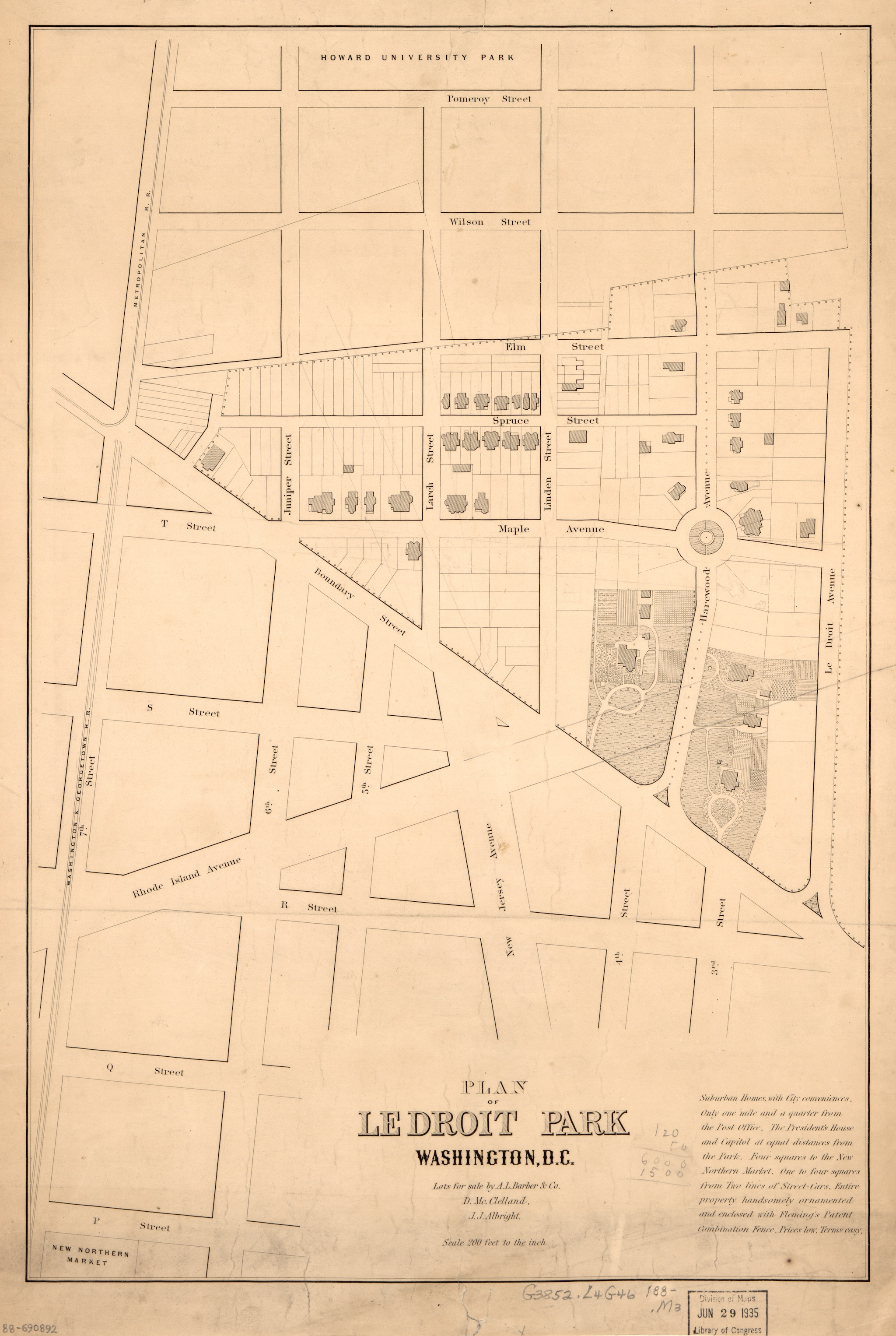 (1880) Map of LeDroit Park. Image courtesy of Library of Congress - http://ghostsofdc.org/image/zoom/rare-1880-plan-ledroit-park/17116/view.jpg, Public Domain, https://en.wikipedia.org/w/index.php?curid=47658431