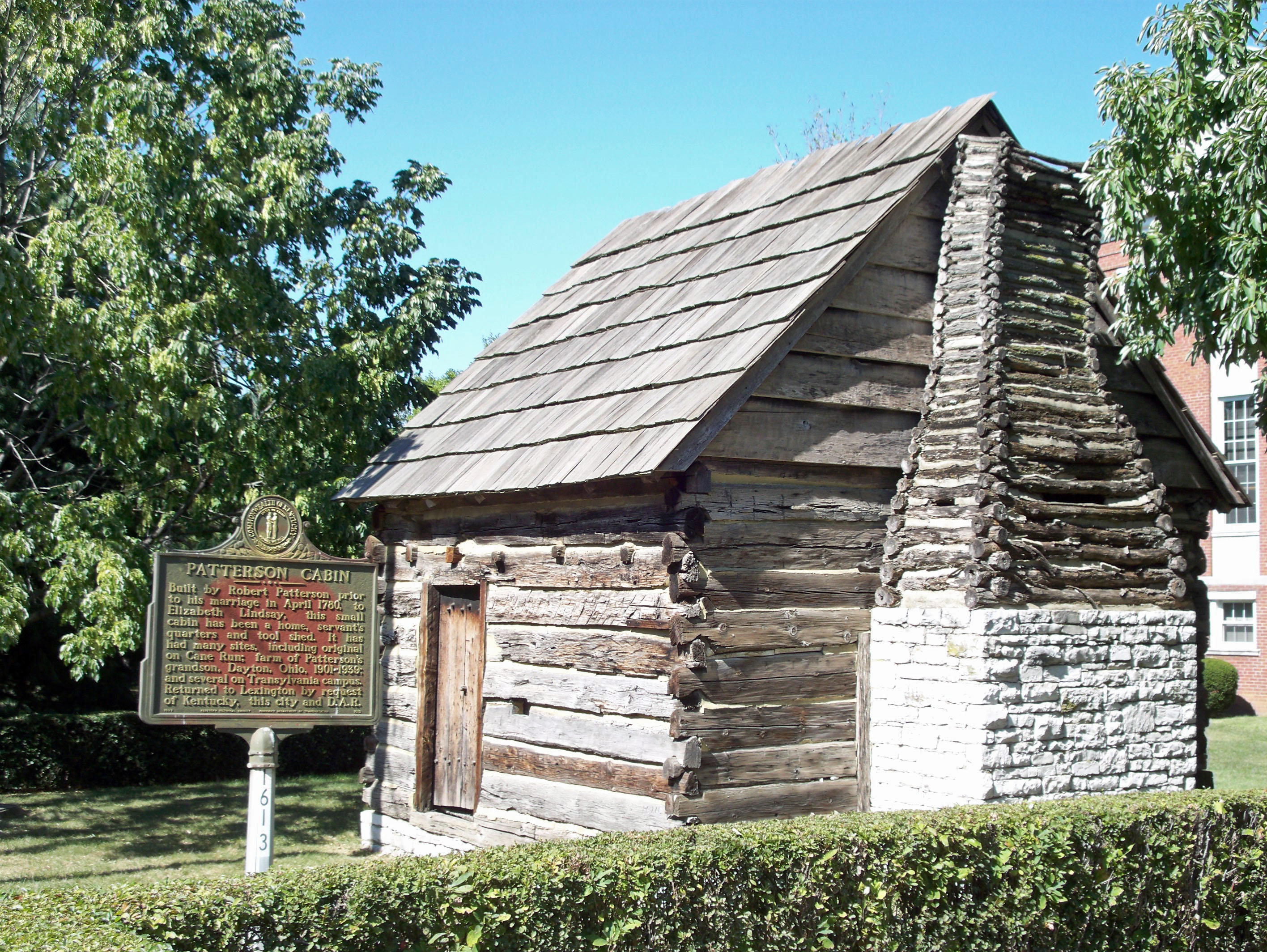 This cabin, built by Robert Patterson, one of the founder's of Lexington, is preserved on the campus of Transylvania University. The cabin was one of the first built in Lexington.