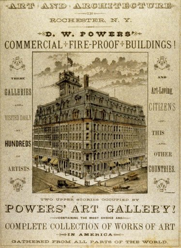 Brochure for the Powers Art Gallery, displayed in the upper floors of the Powers Building