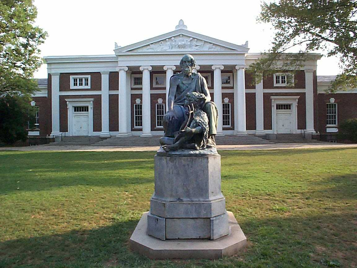 Homer Statue in front of Old Cabell Hall at U.Va;