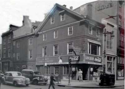 This 1947 photograph shows the Dolley Todd House prior to restoration when it served as a soda shop.
