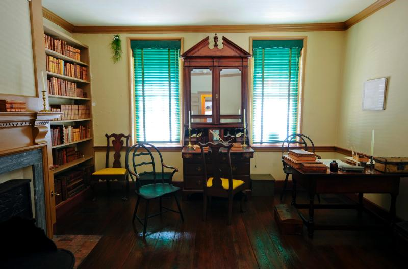 John Todd's law office has been recreated to reflect what it looked like while Mr. Todd was alive.  It also housed his law library that contained over 300 volumes.
