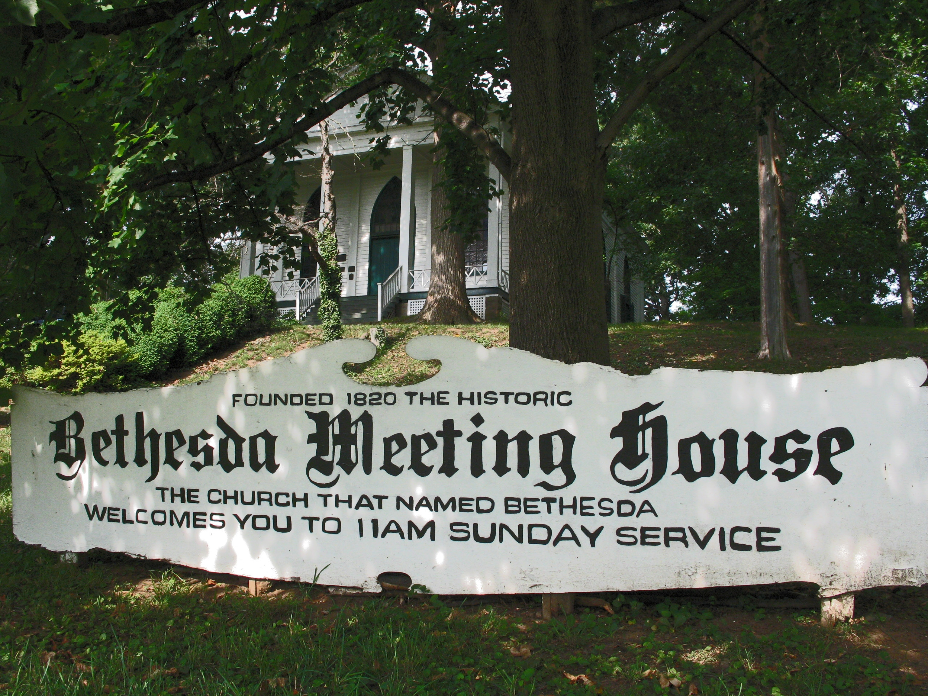 Bethesda Meeting House by Allen C. Browne on HMDB.org (reproduced under Fair Use)