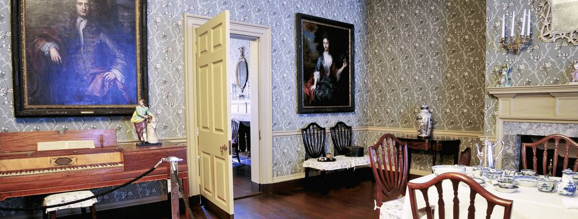 The home's dining room in which many founding fathers enjoyed a meal, to include the country's first three presidents, George Washington, John Adams and Thomas Jefferson.