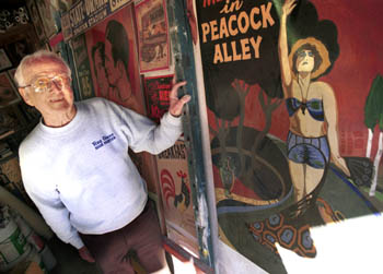 Ray Giese, San Jose sign artist whose work is exhibited at the Arbuckle Gallery in the Pacific Hotel (image from Metroactive)