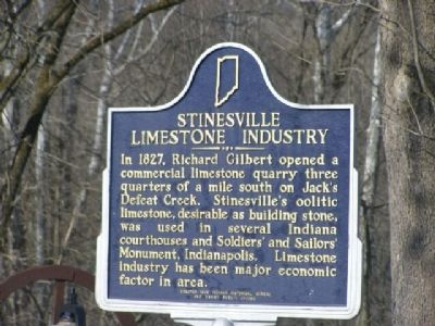 The marker commemorating the origin's Indiana's limestone industry in Stinesville.