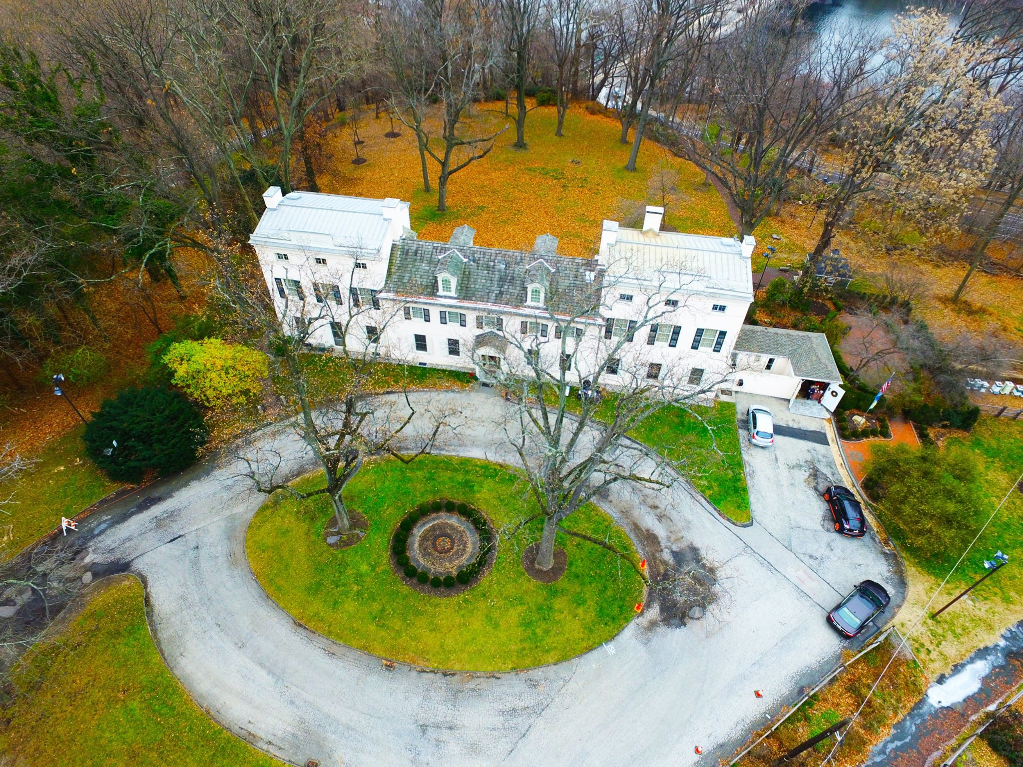 This overhead shot of the mansion reveals its size as well as the bucolic grounds that surround it.
