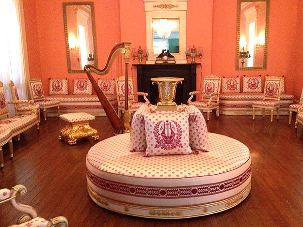 The mansion's ballroom was added sometime around 1828 and has been adorned with furniture imported from France.