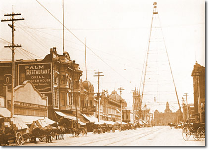 The tower in 1905, with San Jose's old City Hall in the background (image from the City of San Jose)