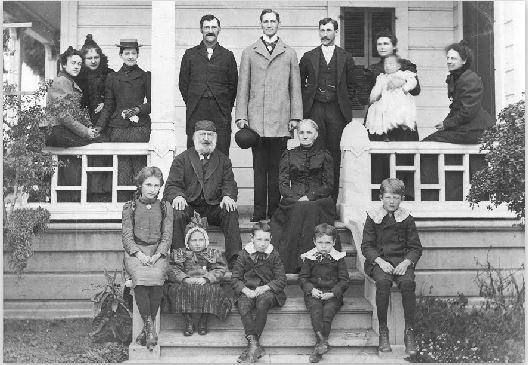 The Warburton family circa 1900 (Dr. and Catherine Warburton seated on top step) (image from History San Jose)