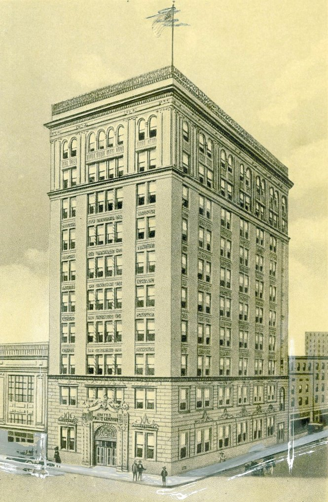The drawing shows the completion of the United Fruit Building in 1920. The company's downfall came in 1975 when the Securities and Exchange Commission charged United Fruit with bribery.