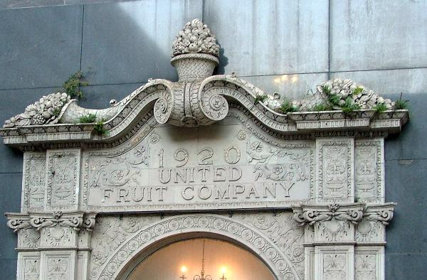 Although United Fruit no longer occupies the building, the main entrance and interior retain the name of the company and friezes depicting tropical fruit.
