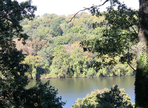 The view of the Schuylkill River from the grounds of Laurel Hill.