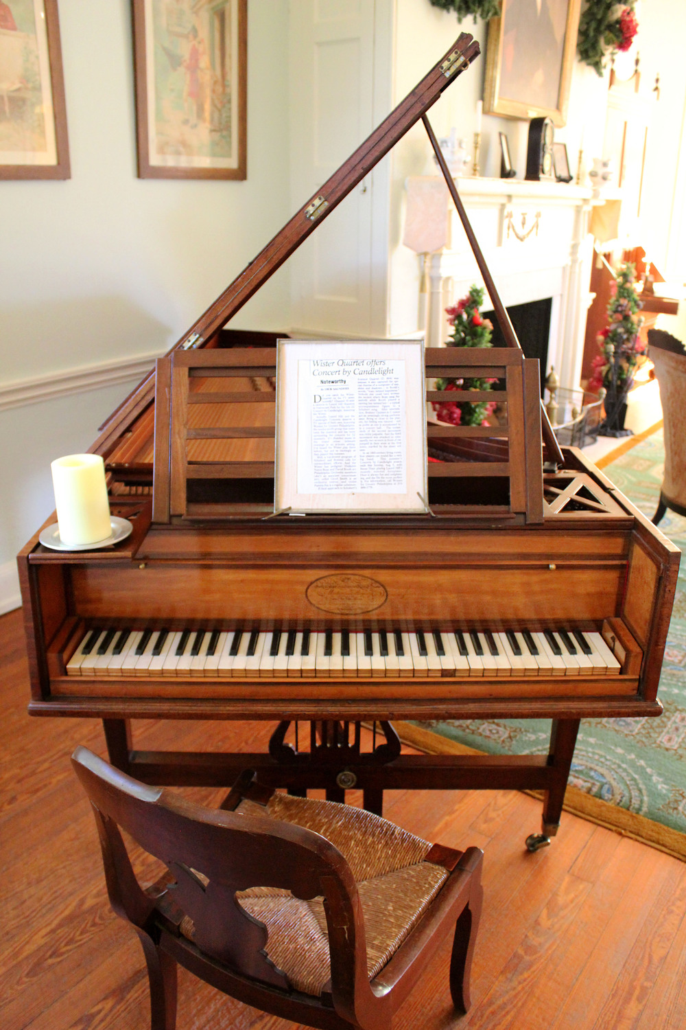 Laurel Hill's 1808 pianoforte, or early piano, sits in the mansion's music room which has hosted its Concerts by Candlelight since the 1970s.