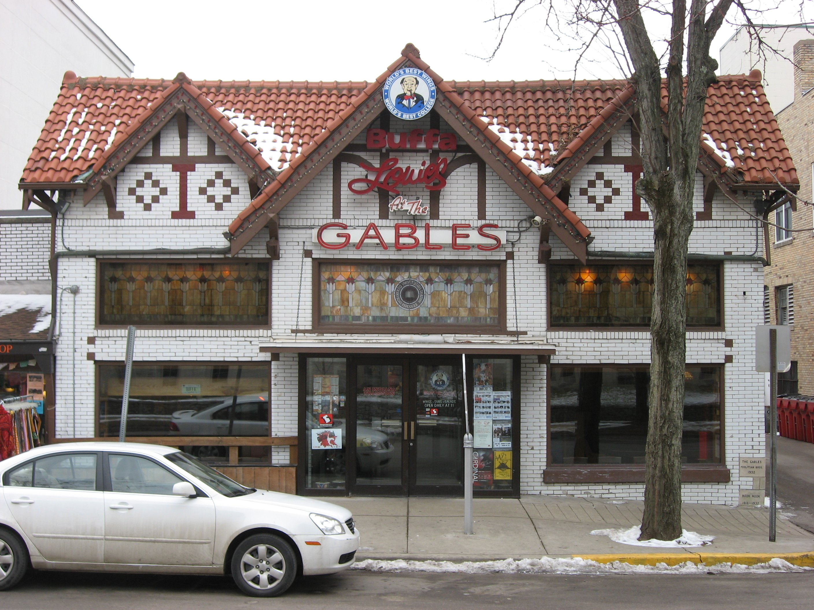 "Now called ""The Gables"", this favorite campus hangout was once called the ""Book Nook"" and is purportedly where Hoagy worked on his song ""Stardust"". The historical marker in his honor stands outside the establishment."