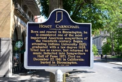 The marker describing Hoagy's life and accomplishments. Photo by: Duane Hall.