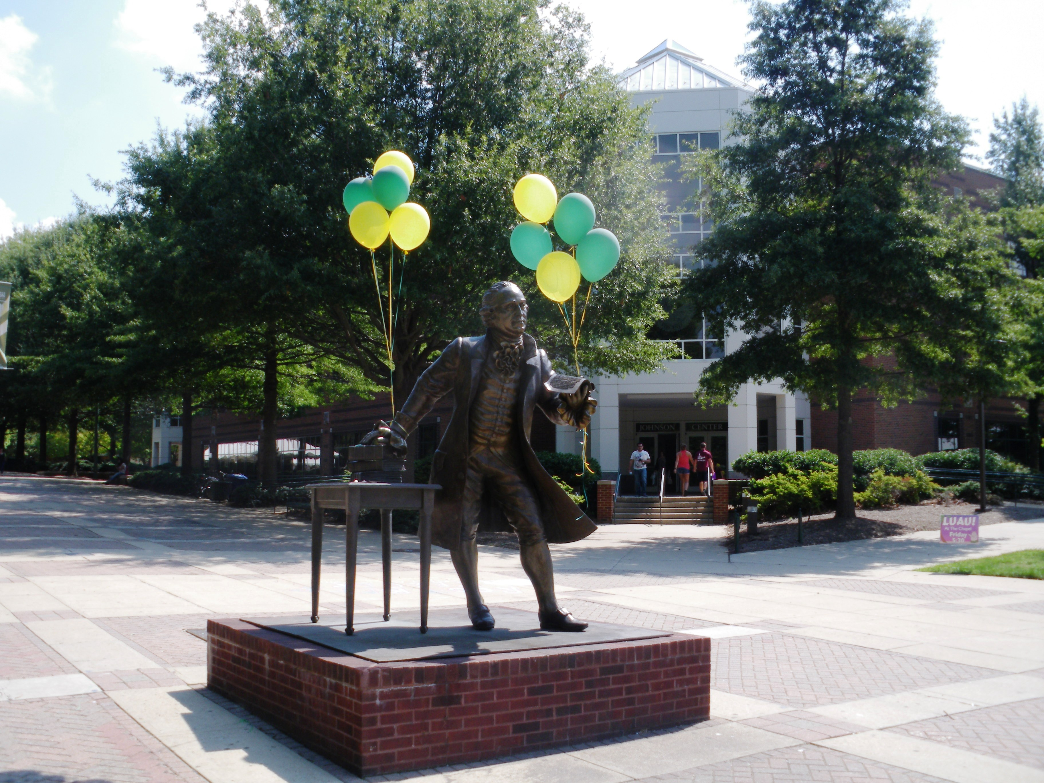 Statue of George Mason in front of the Johnson Center; image by Lucien Dalarun - Own work, CC BY-SA 3.0, https://commons.wikimedia.org/w/index.php?curid=22717714