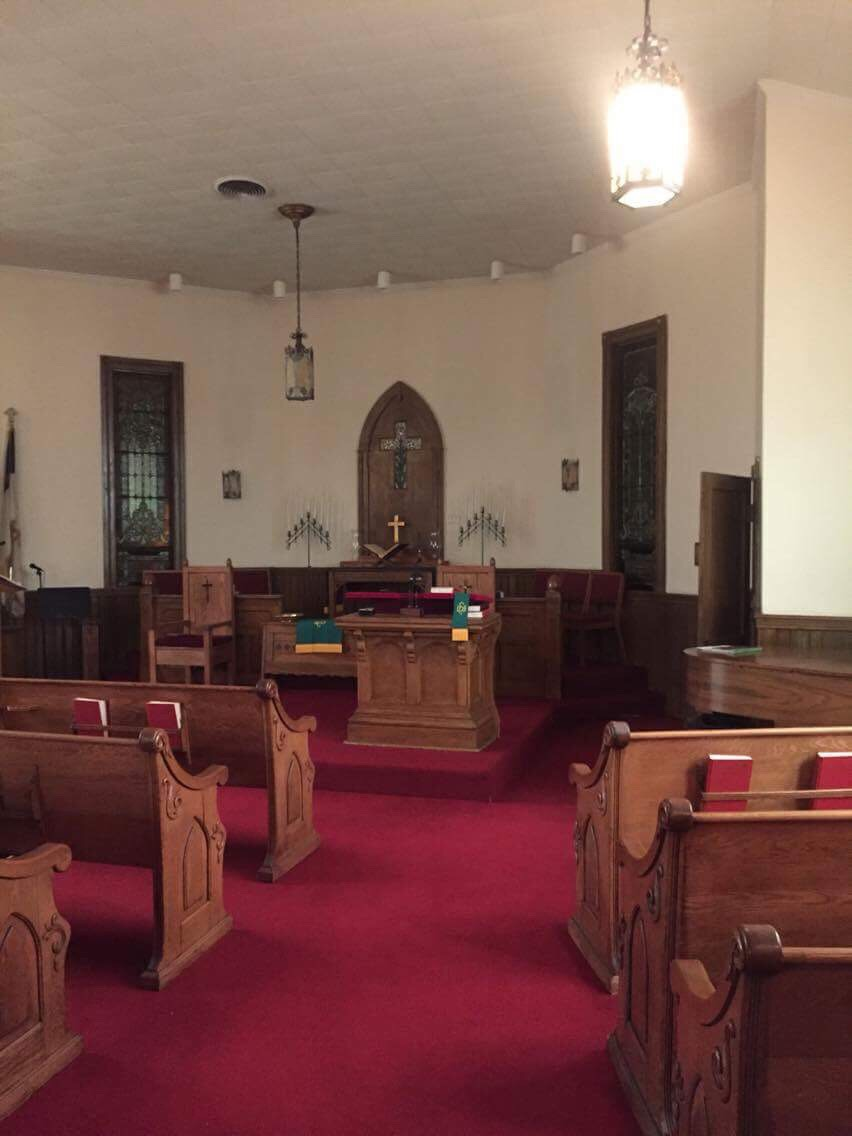 Interior of the church. The original pulpit is still in use. Courtesy of the First Congregational Church of Ceredo.