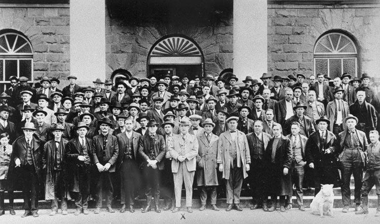 This photo was taken outside the Logan County Courthouse. Pictured at the front and center is Sheriff Don Chafin and his deputies. With a force this size, it is easy to see how difficult it was for union organizers in the area.
