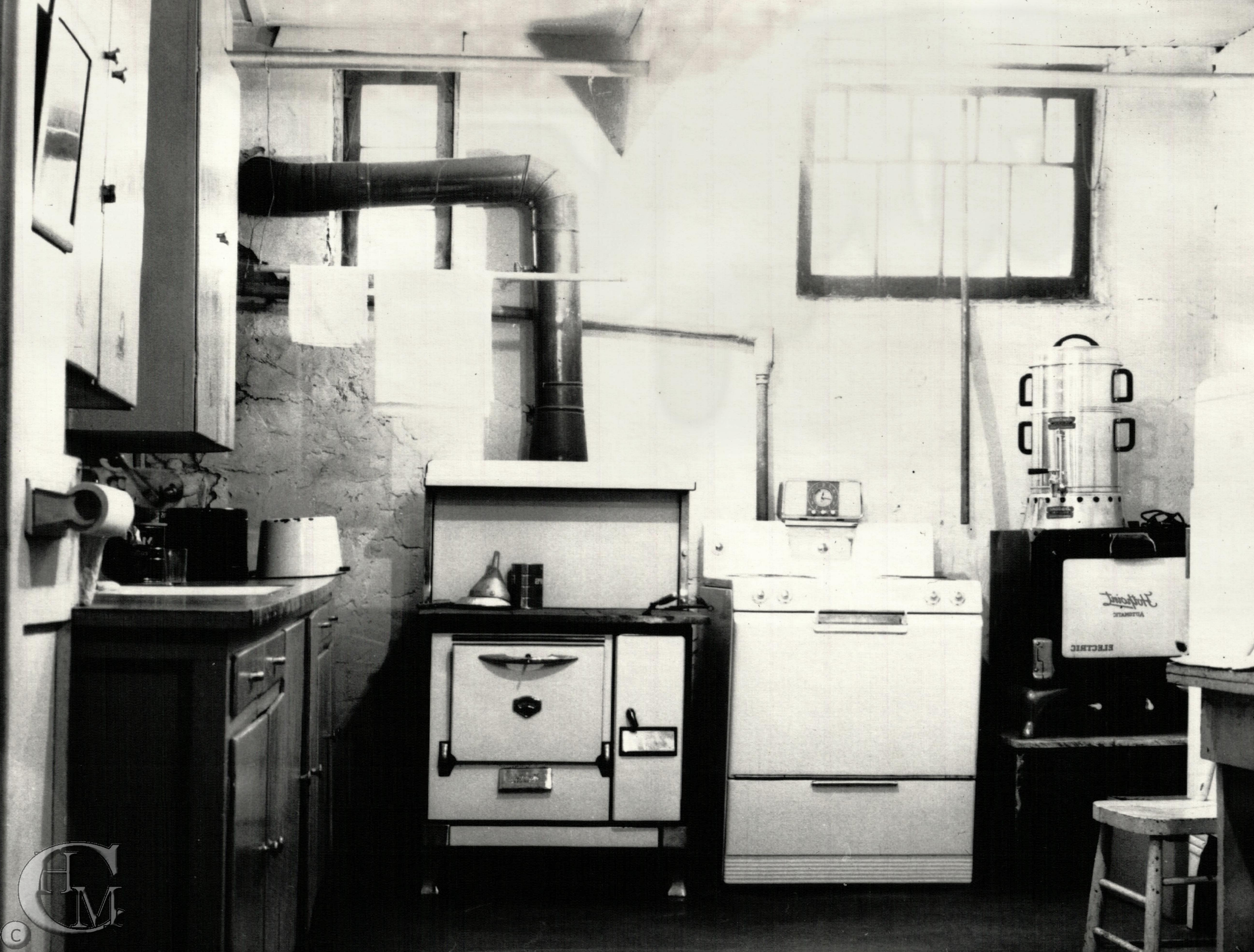 The kitchen in the basement of the church