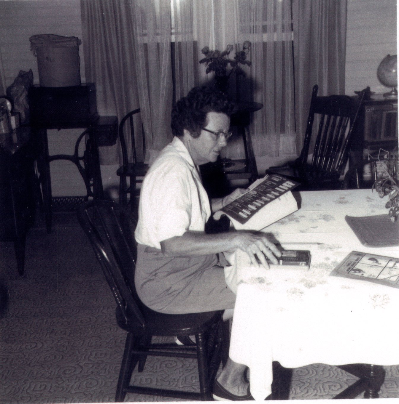 Bernice Fullop Van Hooser in the dining room of the Greenwood House, Clearwater, Florida, circa 1961.