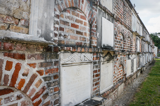 These are the wall vaults that were saved by Save Our Cemeteries and serve as the border for Cemetery no.2.