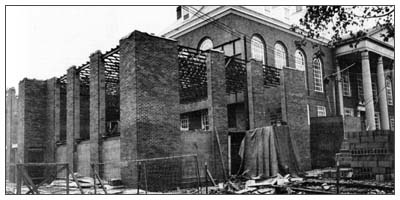 "Construction of the ""wrap around"" that added more space to Morrow in 1965."