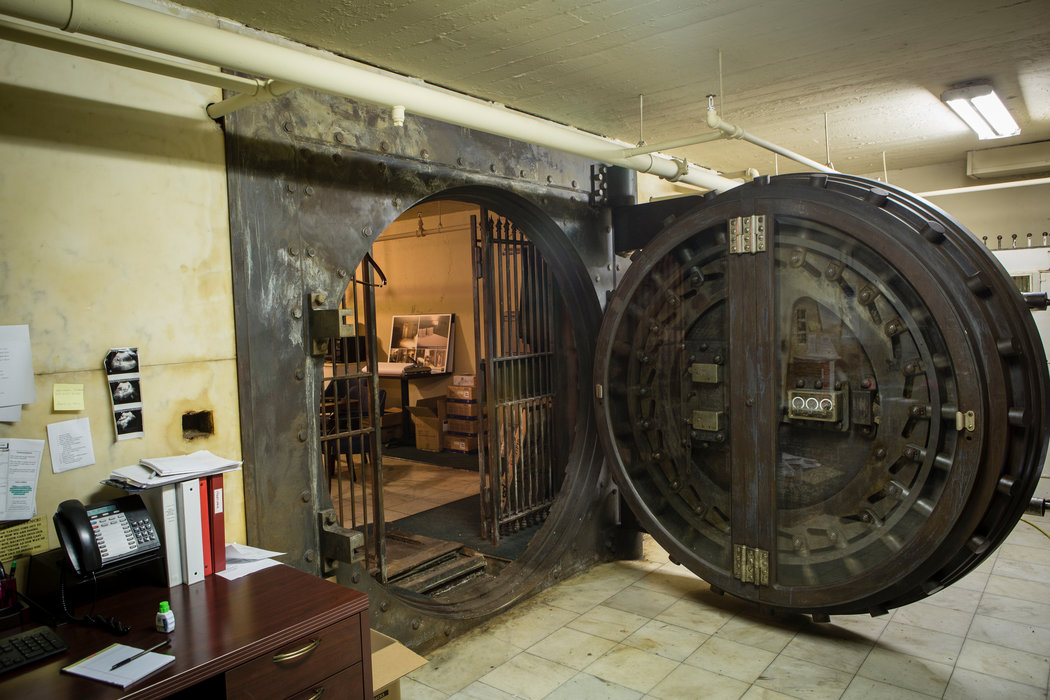 The massive vault used by the Cotton Exchange still sits in the basement of the building.