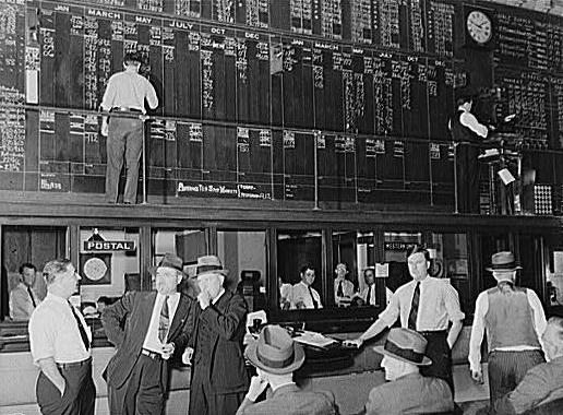 Men trade in cotton futures on the floor of the Cotton Exchange in the 1940s.