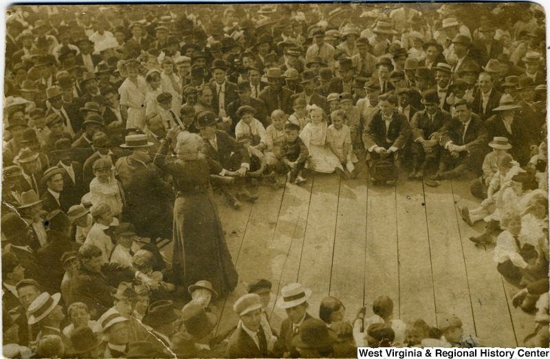 Mother Jones speaking to a gathering in 1912 in Montgomery, West Virginia.  Photo courtesy of the West Virginia and Regional History Center, WVU Libraries.