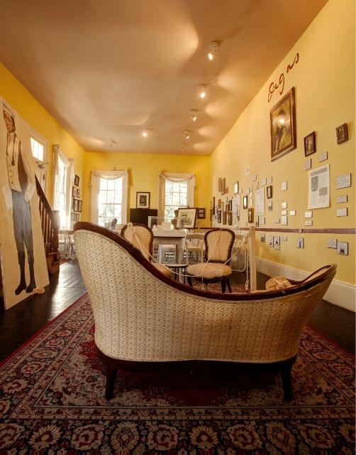 This section of the house is part of the Degas Museum that includes reproductions and informational placards.