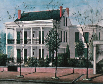 This 1860 drawing by Adrien Persac, shows the Degas House prior to being divided in two.