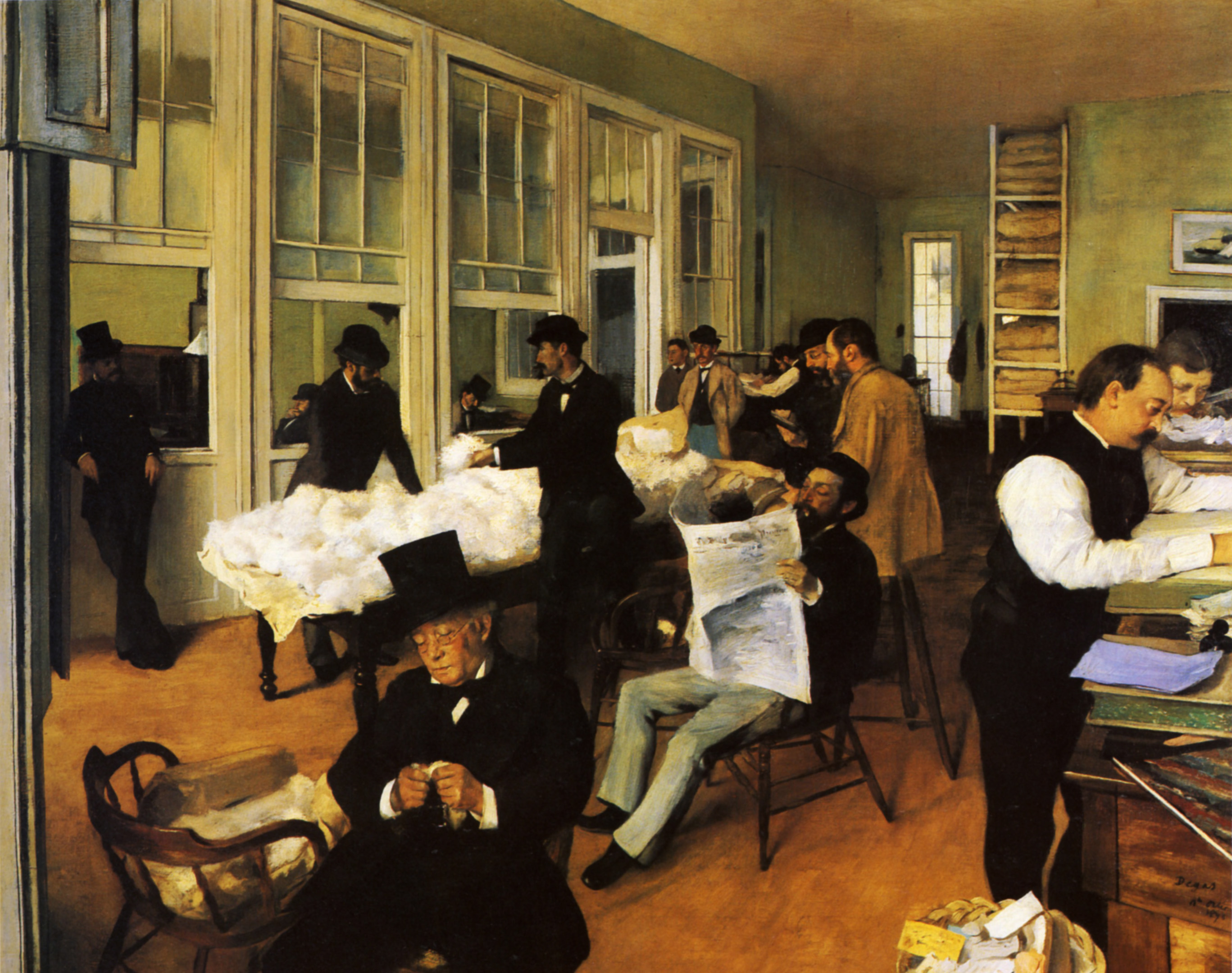 """Degas' famous """"A Cotton Office in New Orleans"""" is thought to be an 1872 painting of his uncle's office within New Orleans' Cotton Exchange."""