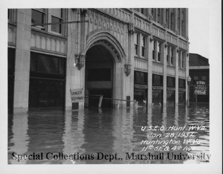 The Coal Exchange Building during the flood of 1937