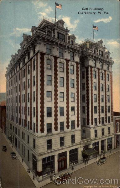 A vintage postcard depicting the Goff Building