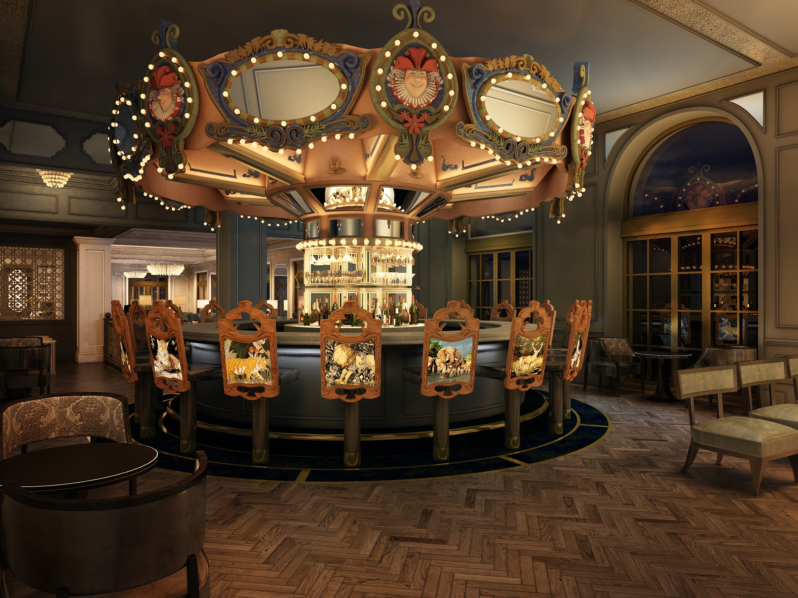 ...and the Carousel Bar in more contemporary times.  Thankfully, patrons get a bar stool rather than a carousel horse on which to sit.