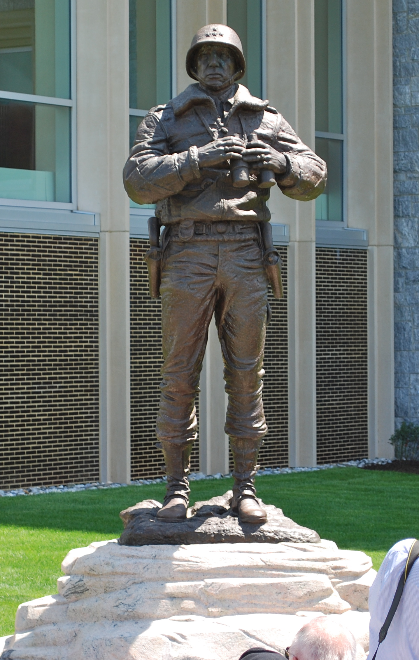 Photograph of Patton Monument near Jefferson Hall at United States Military Academy in West Point, New York