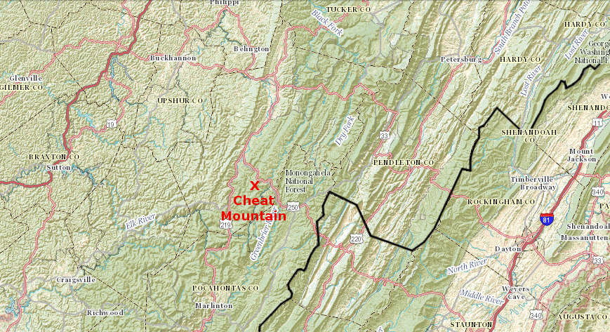 Map showing location of Cheat Mountain in West Virginia
