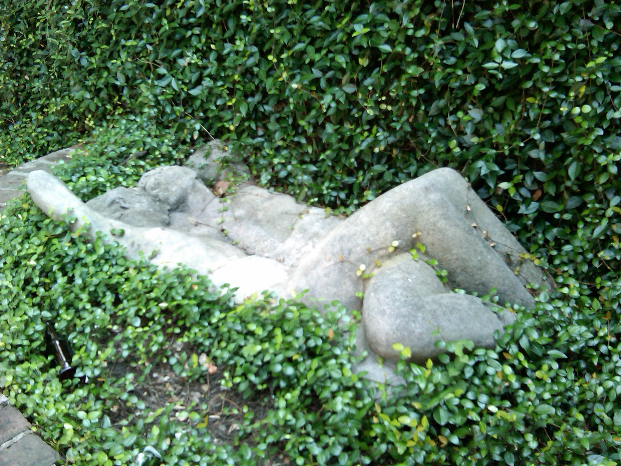 "This sculpture, ""The Lovers,"" resides in the outdoor courtyard at Lafitte's."