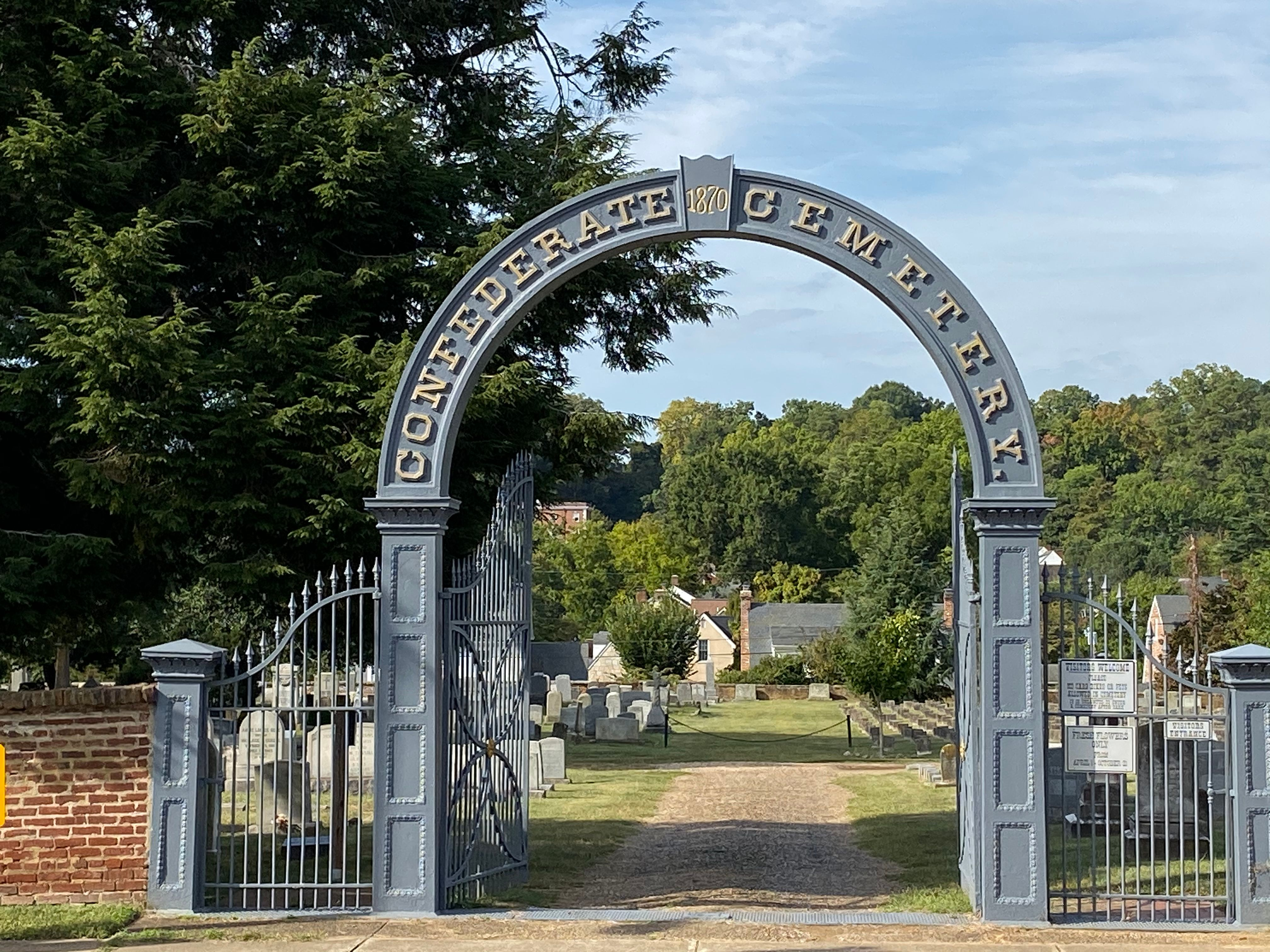 The 1870 Classical Revival-style cast iron cemetery gate