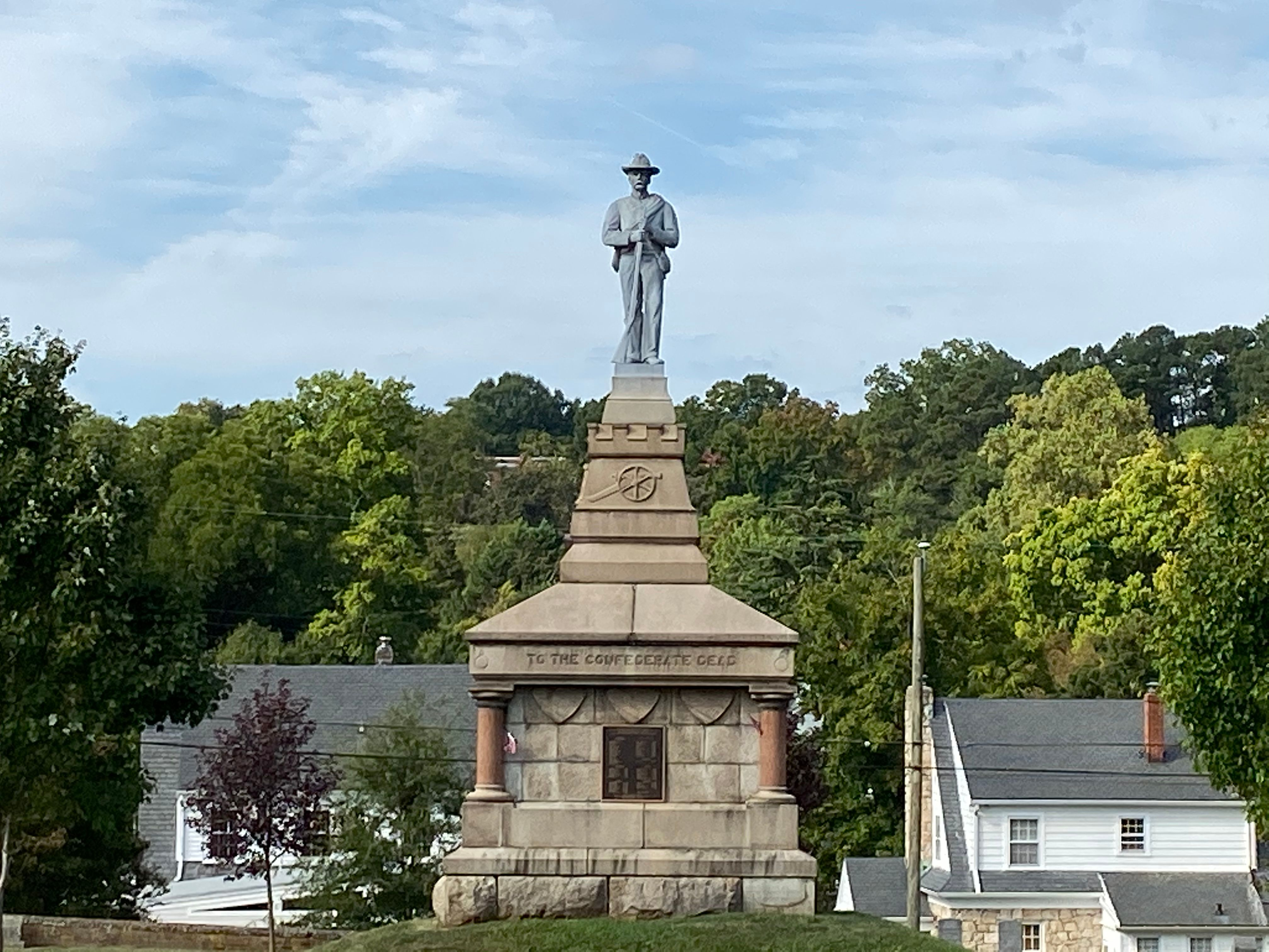 The Confederate monument in the middle of the cemetery, on top of the mass grave of unidentified remains