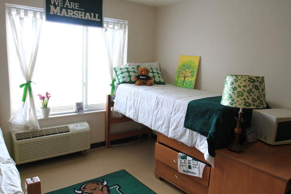 A room in one of Commons' residence halls.