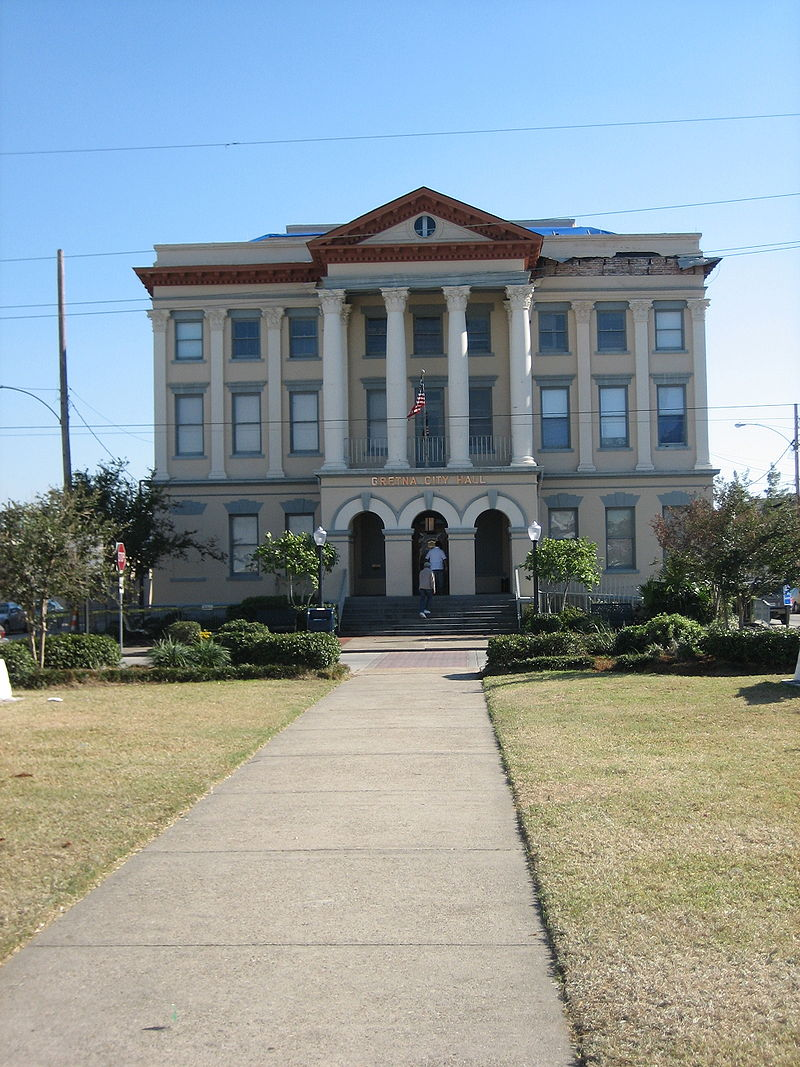 Gretna City Hall was built in 1907 and served as a courthouse until 1956, at which point it became city hall.
