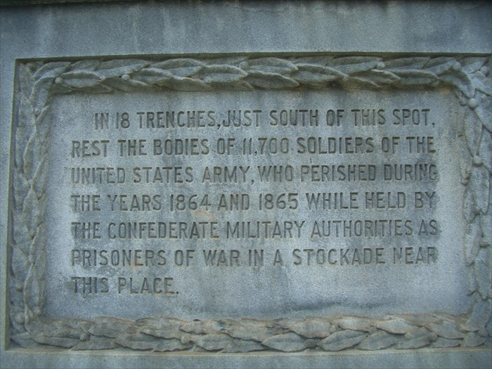 The front side of the Federal Monument of the Unknown Dead describes the number of Union Soldiers that died in a Confederate Prison to be 11,700.