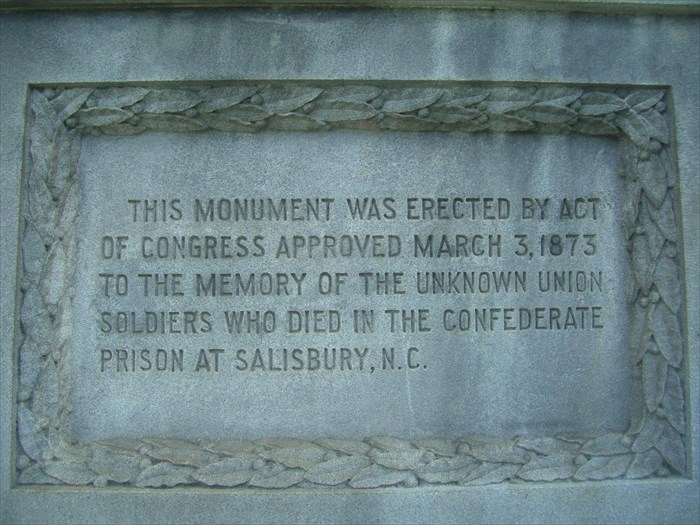 The Federal Monument of the Unknown Dead was paid for by Congress to honor the unknown, uncounted dead soldiers that died at the Salisbury Confederate Prison in Salisbury, NC.