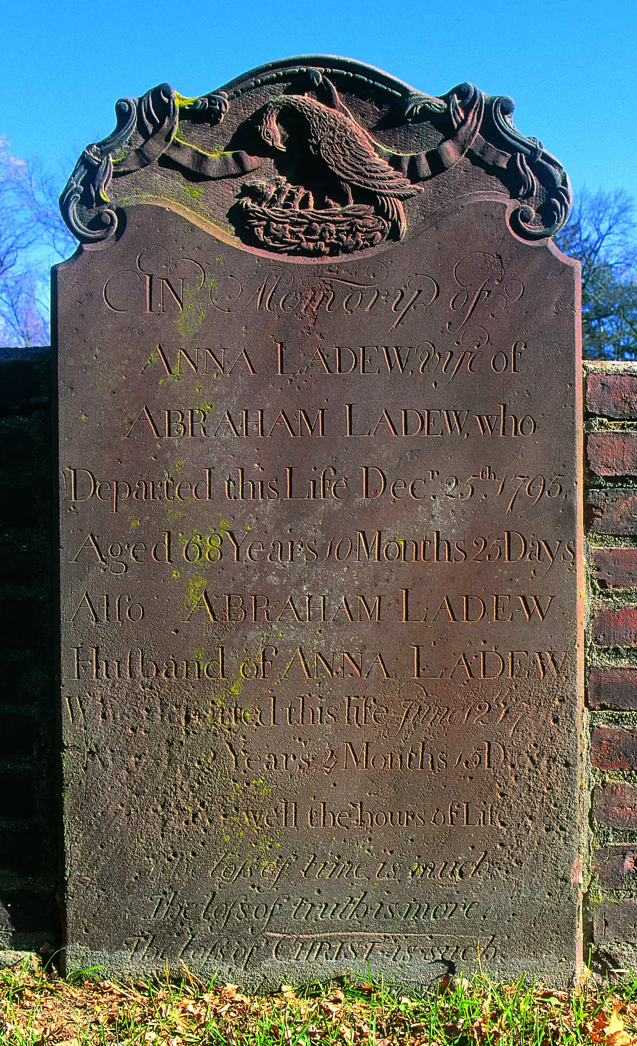 Tombstone of Anna and Abraham Ladew in Sparta Cemetery.