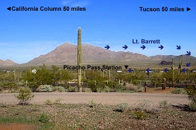 This picture helps give you the perspective of Picacho Pass to Tucson and California